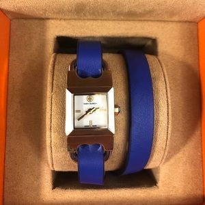 NWOT Tory Burch Navy Blue Leather Band Watch